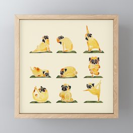 Pug Yoga Watercolor Framed Mini Art Print
