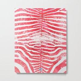 Zebra Stripes   Distressed Red and White   Watercolor Animal Print Art Metal Print