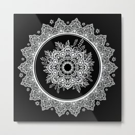 Bohemian Lace Paisley Mandala White on Black Metal Print