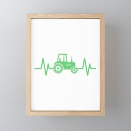 Farming Tractor design, Heartbeat Green Tractor, Farmer Gift Framed Mini Art Print
