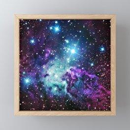 Fox Fur Nebula : Purple Teal Galaxy Framed Mini Art Print