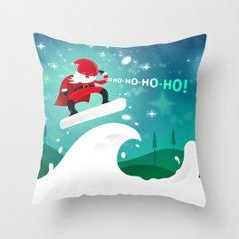 Rolling Santaman Throw Pillow
