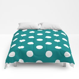 Polka Dots - White on Dark Cyan Comforters
