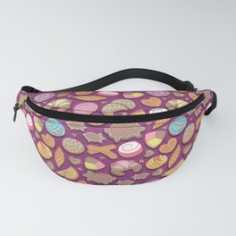 Mexican Sweet Bakery Frenzy // pink background // pastel colors pan dulce Fanny Pack