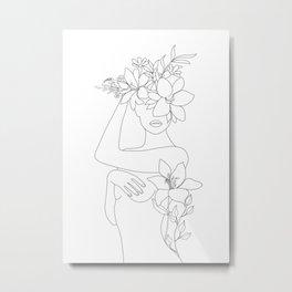 Minimal Line Art Woman with Flowers VI Metal Print