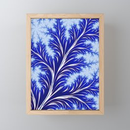 Abstract Blue Christmas Tree Branch with White Snowflakes Framed Mini Art Print