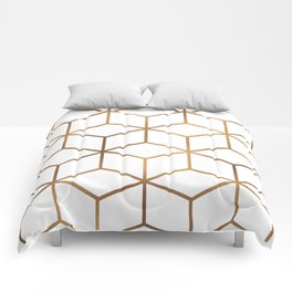 White and Gold - Geometric Cube Design Comforters