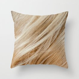 Wavy blonde woman hair background and texture Throw Pillow