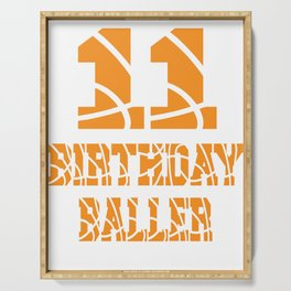 11th Birthday Baller Boy 11 Years Old Basketball Theme Party design Serving Tray