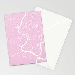 Bangkok Thailand Minimal Street Map - Pastel Pink and White Stationery Cards
