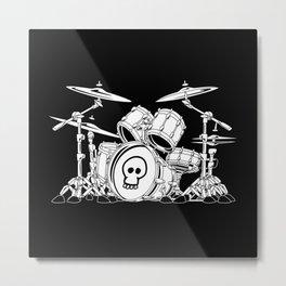 Drum Set Cartoon Metal Print