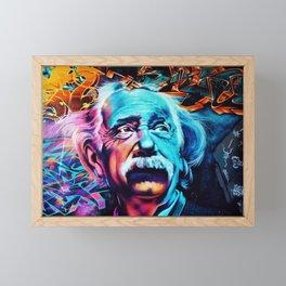Urban Street Art: Albert Einstein Wall Mural Framed Mini Art Print