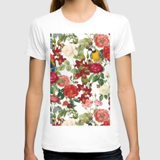 Botanical Garden II LARGE Womens Fitted Tee White