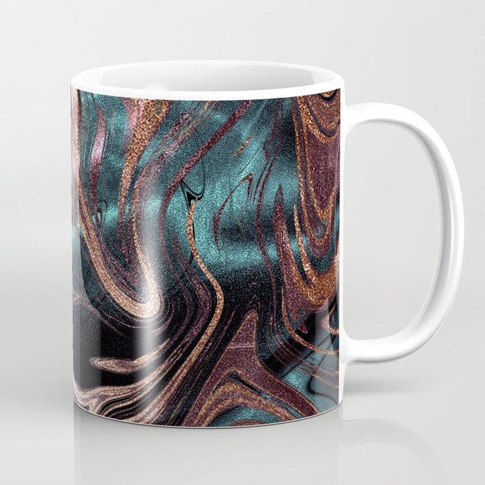 Metallic Rose Gold Marble Swirl Coffee Mug