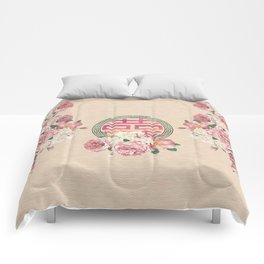 Watercolor Double Happiness Symbol with  Peony flowers Comforters
