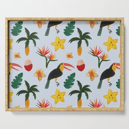 Tropical Jungle Blue Background Serving Tray