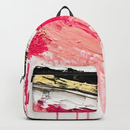 Modern abstract pink black gold brushstrokes splatters acrylic paint Backpack