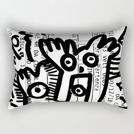 Street Art Graffiti Black and White on French Train Ticket Rectangular Pillow