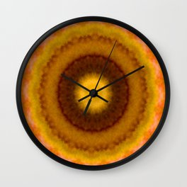 Lovely Healing Mandalas in Brilliant Colors: Brown, Pink, Gold, Yellow, Pink and Green Wall Clock