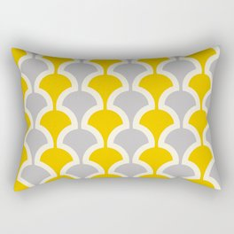Classic Fan or Scallop Pattern 419 Gray and Yellow Rectangular Pillow
