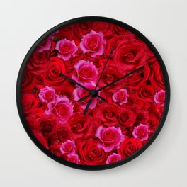 NATURE ART OF BED OF RED & PINK ROSE FLOWERS Wall Clock