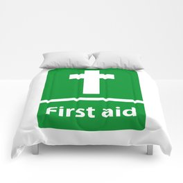 First Aid Cross - Christian Sign Illustration Comforters