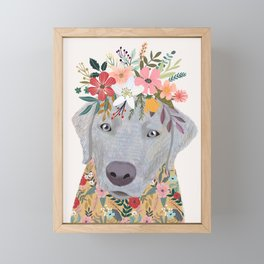 Silver Labrador with Flowers Framed Mini Art Print