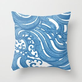 Stencil with Pattern of Waves,19th century Japan (Edited Blue) Throw Pillow