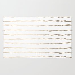 Simply Wavy Lines in White Gold Sands on White Rug