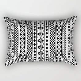 Aztec Essence Pattern Black on White Rectangular Pillow