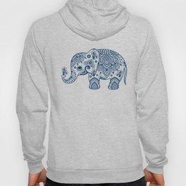 Blue Floral Paisley Cute Elephant Illustration Hoody