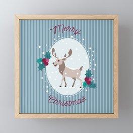 Merry Christmas - Moose and snow Framed Mini Art Print