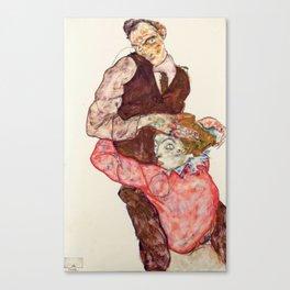"""Egon Schiele """"Lovers"""" Canvas Print"""