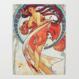 Alphonse Mucha Dance Art Nouveau Watercolor Painting Poster