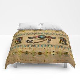 Egyptian Eye of Horus Ornament on papyrus Comforters