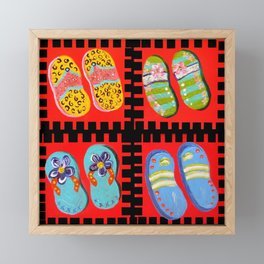 Flip Flops Times Four Framed Mini Art Print