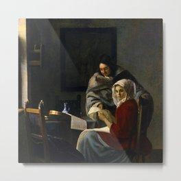 Johannes Vermeer - Girl Interrupted at her Music Metal Print
