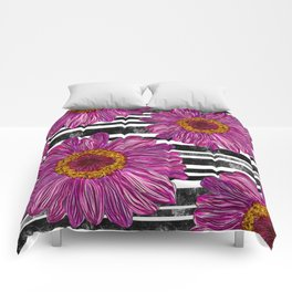Pink Ink Flowers on Black & White Stripes Comforters