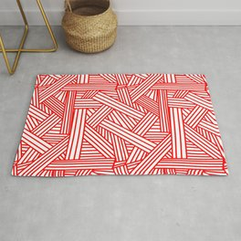 Sketchy Abstract (Red & White Pattern) Rug