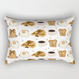 Breakfast Time Pattern on (Egg) White Rectangular Pillow