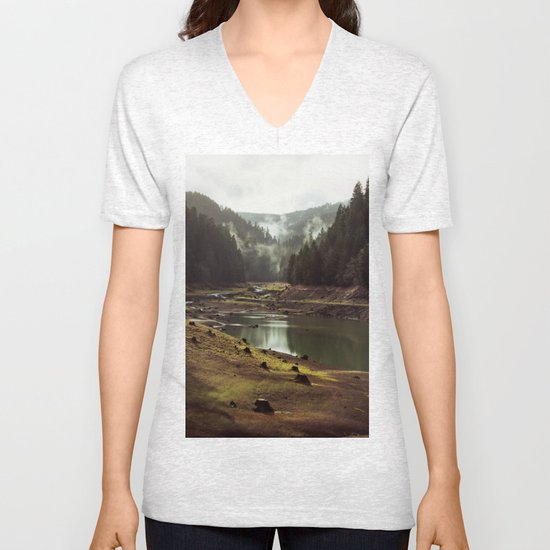 Foggy Forest Creek Unisex V-Neck