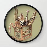 ale giorgini Wall Clocks featuring Noah's Ale by Santo76