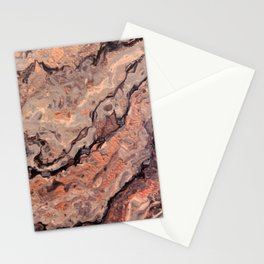 Rose Gold, Black, Grey, and White Paint Pour Waves Stationery Cards