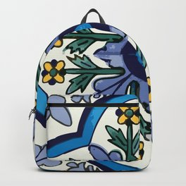 Talavera Mexican tile inspired bold design in blues, greens, and yellows Backpack