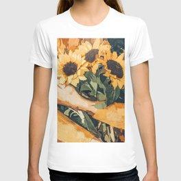 Holding Sunflowers #society6 #illustration #nature #painting T-shirt