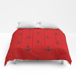 Navy Sailor Anchor Pattern Blue And Red Comforters