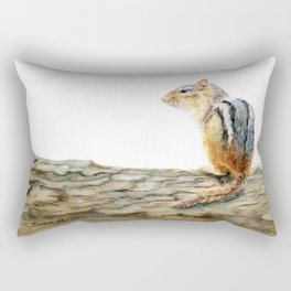 Little Chip - a painting of a Chipmunk by Teresa Thompson Rectangular Pillow