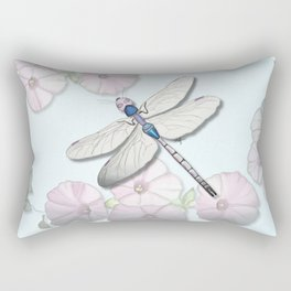 Dragonfly and Morning Glories Rectangular Pillow