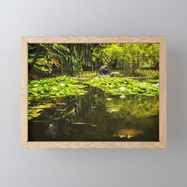 Turtle in a Lily Pond Framed Mini Art Print