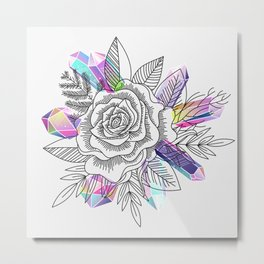 Rose and Crystals Metal Print